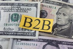 B2B on Dollar Bills (Business to Bisness) Stock Photos