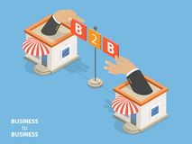 B2B flat isometric vector concept. B2B flat isometric vector. Concept of situation where one business makes commercial transaction with another Royalty Free Stock Photography