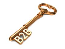 B2B - Golden Key. B2B - Golden Key on White Background. 3D Render. Business Concept Royalty Free Stock Image