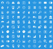 100 B2B icon set. Simple white images on blue background Royalty Free Stock Image