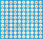 B2B icons round set. B2B icons set, orange image in white circle on blue background Stock Photo