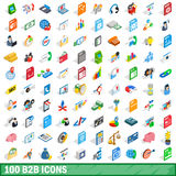 100 b2b icons set, isometric 3d style. 100 b2b icons set in isometric 3d style for any design vector illustration Stock Photography