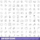 100 b2b icons set, outline style. 100 b2b icons set in outline style for any design vector illustration Stock Photo