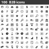 100 B2B icons set. Simple black images on white background Royalty Free Stock Image
