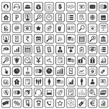 100 B2B icons set. Simple black images on white background Royalty Free Stock Photography