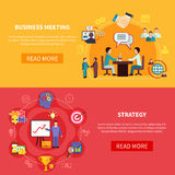 B2B Meetings Horizontal Banners. Business banners set with group meeting and strategy planning images with text and read more button vector illustration Stock Photos