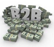 B2B Money Stacks Cash Piles Earnings Profits Business Sales. B2B 3d Letters surrounded by stacks or piles of hundred dollar bills as earnings, revenues or Stock Images