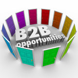 B2B Opportunities Word Doors New Business Paths Careers Jobs. B2B Opportunities words in 3d letters surrounded by colored doors as job or career paths for stock illustration