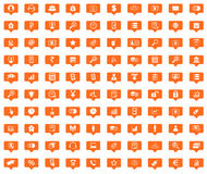B2B orange message icons set. Images in filled chat bubbles on white background Stock Photos