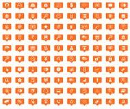 B2B orange message icons set Stock Photos