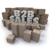 B2B Sales Cardboard Boxes Business Selling Orders. B2B Sales words in 3d letters surrounded by cardboard boxes as orders to companies of goods and products Royalty Free Stock Image