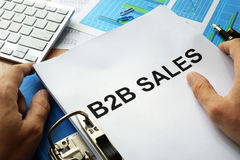 B2B sales. Folder and documents with title b2b sales Stock Photo
