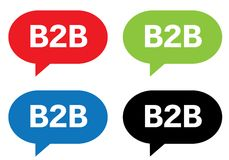 B2B text, on rectangle speech bubble sign. Royalty Free Stock Photo