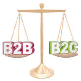 B2B vs B2C Selling to Business or Conumers Letters on Scale. B2B vs B2C acronyms or abbreviation letters on a gold scale comparing sales to businesses or Stock Photography