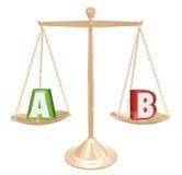 B Bada złoto skala wyborów Balansowe Porównuje opcje Researc Zdjęcia Royalty Free