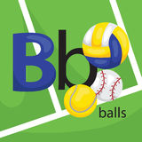 B for Balls. A vector of many type of balls royalty free illustration
