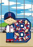 B is for Baseball. Cute Baseball Player Alphabet Learning Illustration. An EPS file is also available vector illustration