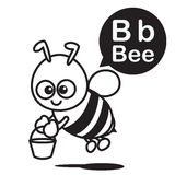 B Bee cartoon and alphabet for children to learning and coloring Stock Images