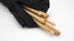Bębenów kije i czerni torby Obrazy Royalty Free