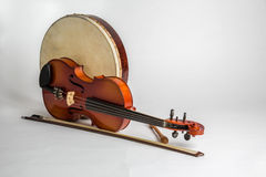Bęben i skrzypki Zdjęcia Stock