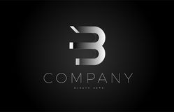 B black white silver letter logo design icon alphabet 3d Royalty Free Stock Image