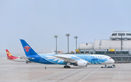 B-2735 787-8 Boeing Dreamliner på Pekinghuvudinternationell flygplats Arkivfoto