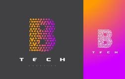 B-bokstav Logo Technology FörbindelseDots Letter Design Vector Royaltyfria Foton