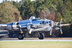 B-17 Bomber `Flying Fortress` on an Airport Runway royalty free stock image