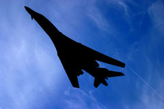 B 1 bomber silhouette. The Rockwell B-1 Lancer is a four-engine supersonic variable-sweep wing, jet-powered heavy strategic bomber used by the United States Air Royalty Free Stock Photography