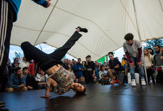 B-boy doing some break dance tricks Royalty Free Stock Photo