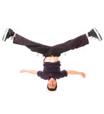 B-boy standing on the head. Isolated on white Stock Photos