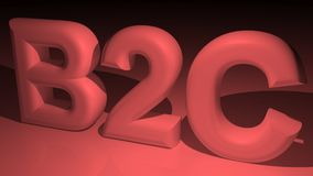 B2C - Affaires au client en rouge Images libres de droits