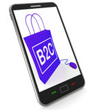 B2C Bag Represents Online Business and Buying Stock Photography