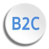 B2C bleu dans le bouton blanc rond avec l'ombre Image libre de droits