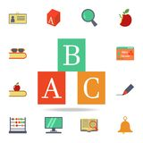 A b c box colored icon. Detailed set of colored education icons. Premium graphic design. One of the collection icons for websites. Web design, mobile app on vector illustration