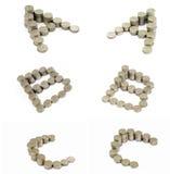 b c coins stilsorten Arkivfoton