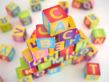 A,B,C cubes pyramide Royalty Free Stock Image