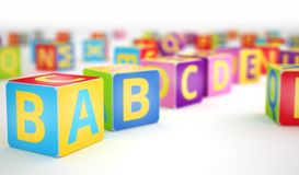 A,B,C cubes in row Royalty Free Stock Images