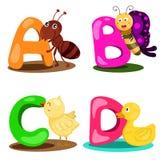 ПИСЬМО алфавита иллюстратора животное - a, b, c, d Стоковые Фото