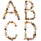 A-B-C-D alphabet letters from the coins Royalty Free Stock Images