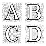 A, B, C, D alphabet letters with floral elements Royalty Free Stock Photography