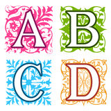 A, B, C, D, alphabet letters floral elements Royalty Free Stock Image