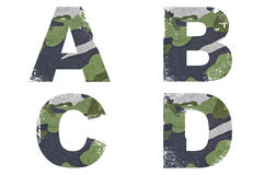 A, B, C, D Alphabet From Military Fabric Texture. Royalty Free Stock Photography