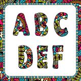 A, B, C, D, E, F. Letters of alphabet with ethnic Royalty Free Stock Photos