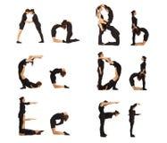 A-, b-, c-, D-, e- och f-abc-bokstäver bildade vid människor Arkivbilder