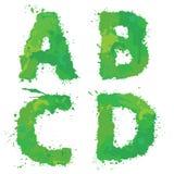 A, B, C, D, Handdrawn Engels alfabet - de brieven worden gemaakt van gre Royalty-vrije Stock Afbeeldingen