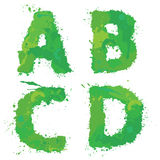 A, B, C, D, Handdrawn english alphabet - letters are made of gre Royalty Free Stock Images