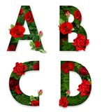 A, B, C, D letters of the alphabet with red roses on white background Stock Photography