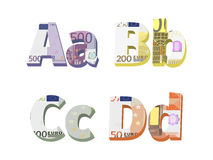 A; b; c; d letters. Are made of European banknotes Royalty Free Stock Photography