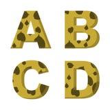 A, b, C, d listy z liśćmi drzewa na one wektor Zdjęcia Royalty Free